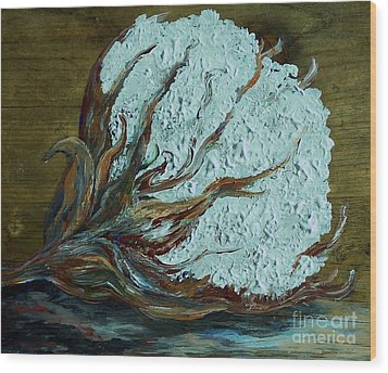 Cotton Boll On Wood Wood Print by Eloise Schneider