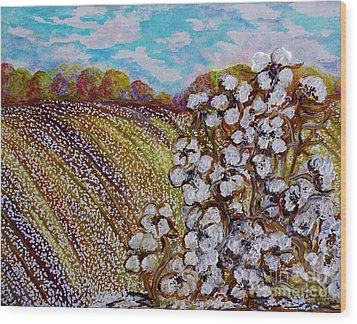 Cotton Fields In Autumn Wood Print by Eloise Schneider