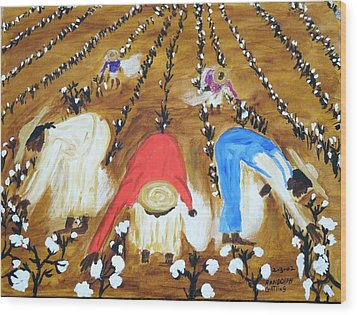 Cotton Picking People Wood Print