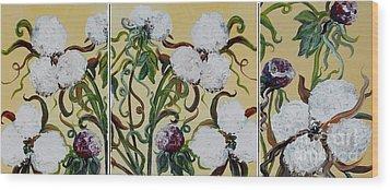 Cotton Triptych Wood Print by Eloise Schneider