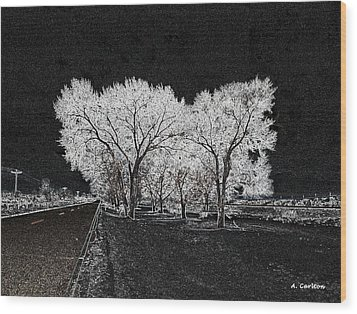 Wood Print featuring the digital art Cottonwood Frost by Aliceann Carlton