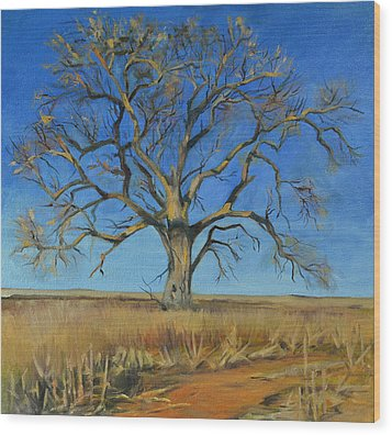 Cottonwood On The North 40 Wood Print by Pattie Wall