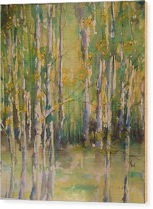 Cottonwoods Wood Print by Robin Miller-Bookhout