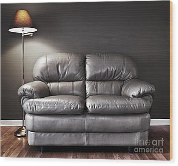 Couch And Lamp Wood Print by Elena Elisseeva