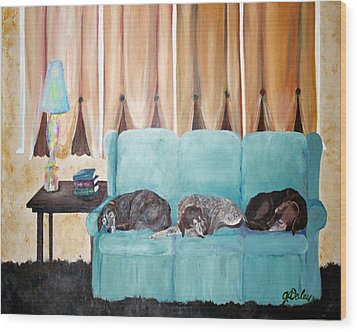 Couch Potatoes Wood Print by Gail Daley