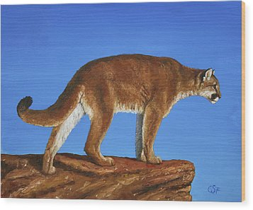 Cougar Cliff Wood Print by Crista Forest