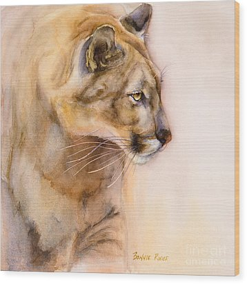 Wood Print featuring the painting Cougar On The Prowl by Bonnie Rinier
