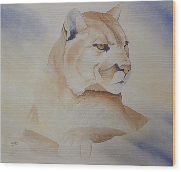 Wood Print featuring the painting Cougar On Watch by Richard Faulkner