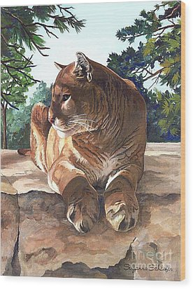 Cougar Outlook Wood Print by Suzanne Schaefer