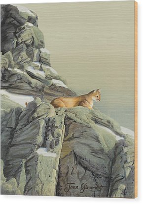 Cougar Perch Wood Print