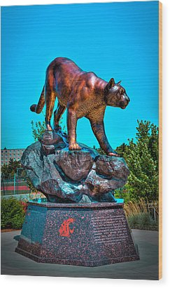 Cougar Pride Sculpture - Washington State University Wood Print