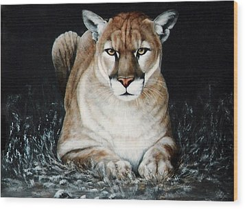 Wood Print featuring the painting Cougar Waiting by DiDi Higginbotham
