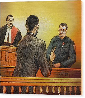 Counsel Harval Bassi Questions A Witness Wood Print by Alex Tavshunsky