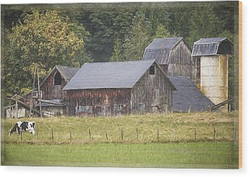 Wood Print featuring the painting Country Art - Rustic Old Barns With Cow In The Pasture by Jordan Blackstone