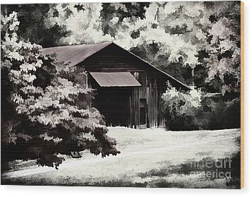 Country Charm In Dramatci Bw Wood Print by Darren Fisher