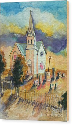 Wood Print featuring the painting Country Church At Sunset by Kathy Braud