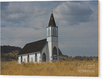 Country Church Wood Print by Birches Photography
