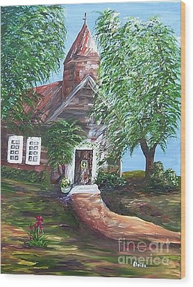 Wood Print featuring the painting Country Church by Eloise Schneider