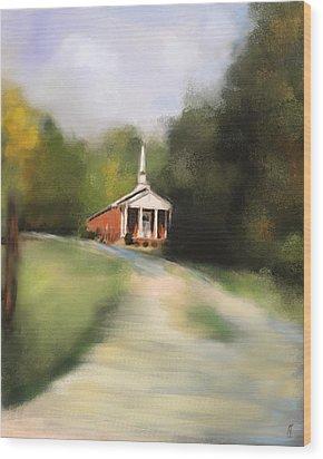 Country Church Wood Print by Jai Johnson