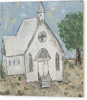 Country Church Wood Print by Kirsten Reed