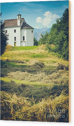 Wood Print featuring the photograph Country Church With Hay by Silvia Ganora