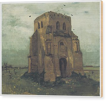 Country Churchyard And Old Church Tower Wood Print by Vincent Van Gogh