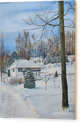 Country Club In Winter Wood Print by Christine Lathrop