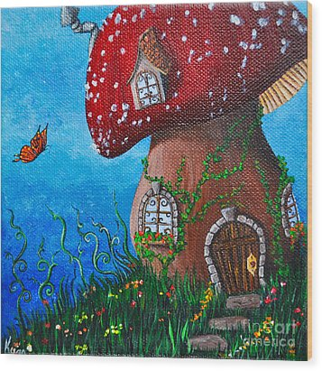 Country Cottage Wood Print by Kyra Wilson