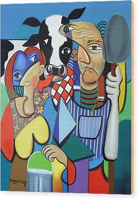 Country Cubism Wood Print by Anthony Falbo