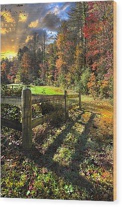 Country Dawn Wood Print by Debra and Dave Vanderlaan