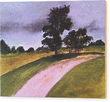 Country Driveway Wood Print by Andrea Friedell