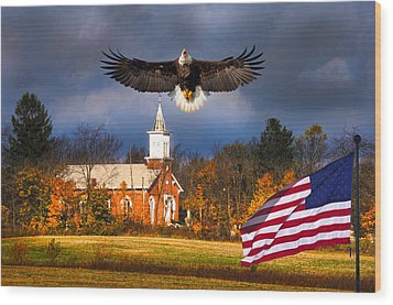 country Eagle Church Flag Patriotic Wood Print