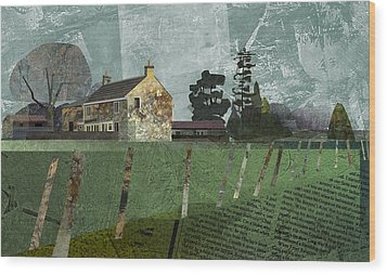 Country Farm Wood Print by Kenneth North