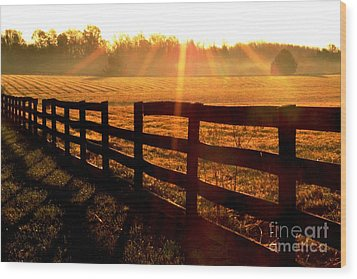 Country Fence Wood Print by Carlee Ojeda