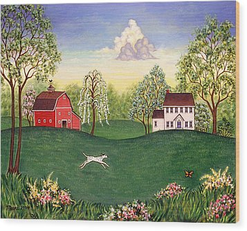 Country Frolic One Wood Print by Linda Mears