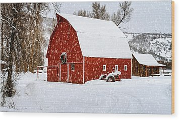 Country Holiday Barn Wood Print by Teri Virbickis