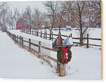 Country Holiday Cheer Wood Print by Teri Virbickis