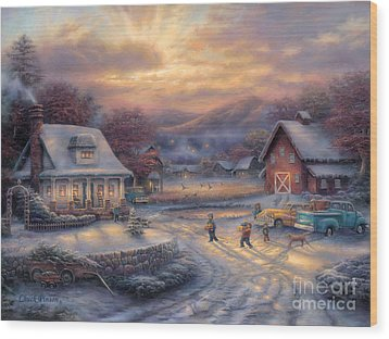 Country Holidays Wood Print by Chuck Pinson