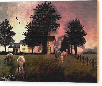 Country Home Wood Print by Michael Rucker