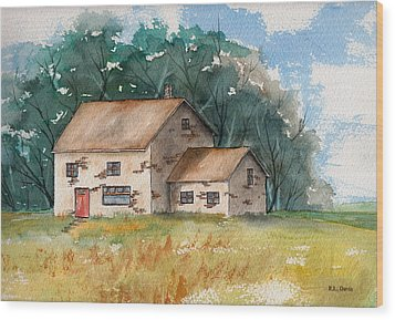 Wood Print featuring the painting Country Home With The Red Door by Rebecca Davis