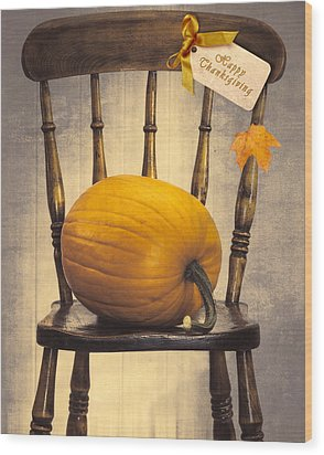 Country House Chair Wood Print by Amanda Elwell