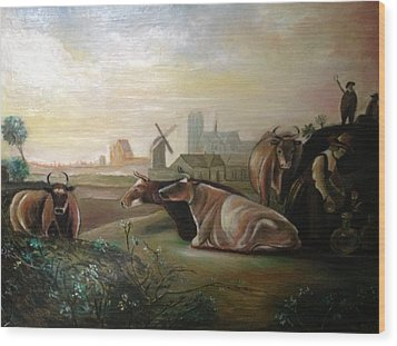 Country Landscapes With Cows Wood Print