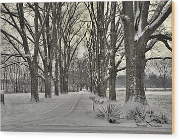 Country Lane In Winter Wood Print by Wendell Thompson