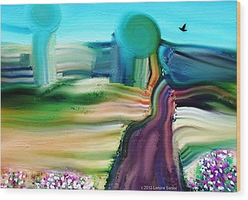 Country Lane Wood Print by Lenore Senior