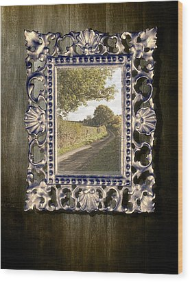 Country Lane Reflected In Mirror Wood Print by Amanda Elwell