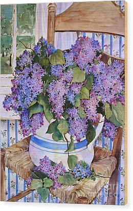 Country Lilacs Wood Print by Sherri Crabtree