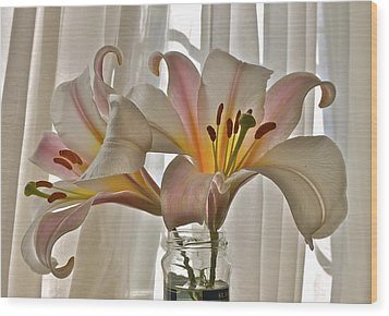Country Lilies Wood Print by K L Kingston