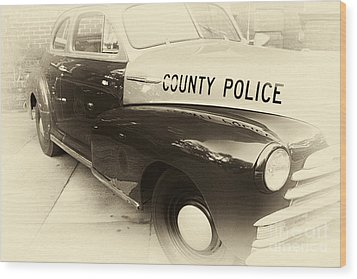 Country Police Antique Toned Wood Print by John Rizzuto