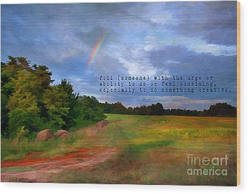 Country Rainbow Wood Print by Darren Fisher