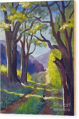 Wood Print featuring the painting Country Road by Carol Hart